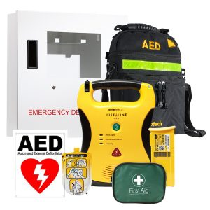 aed defibrillator package with wall mounted cabinet and soft aed case