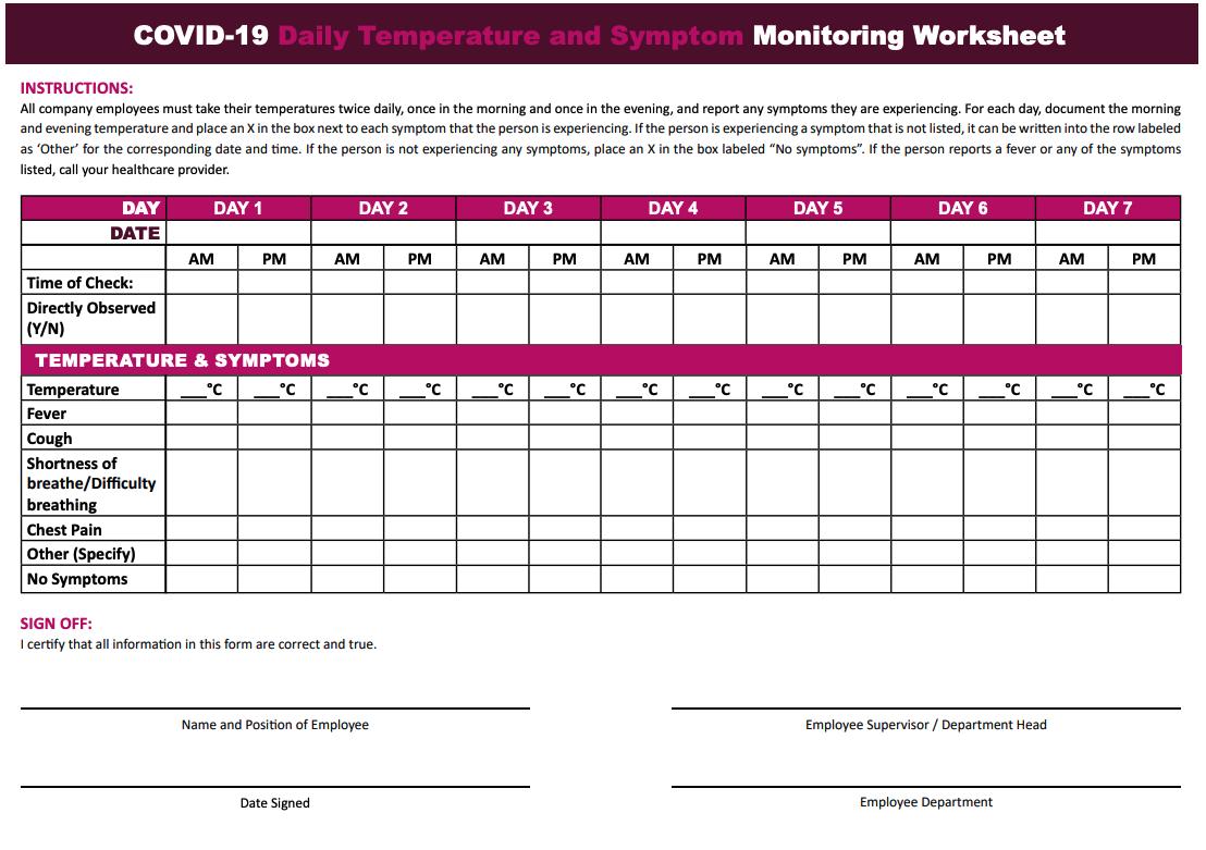 covid-19 daily temperature and symptom monitoring sheet