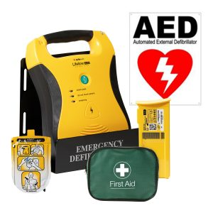 aed defibrillator with battery and aed pad and first aid kit