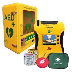 aed defibrillator package with wall cabinet