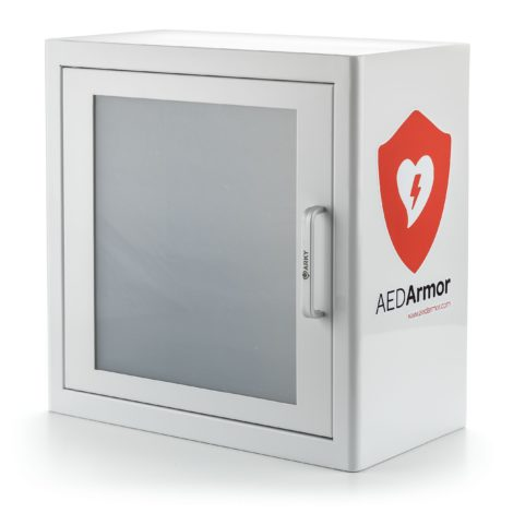 Alarmed White Metal Indoor AED Cabinet - AED Armor