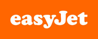 a logo of Easyjet with an orange background and white letters