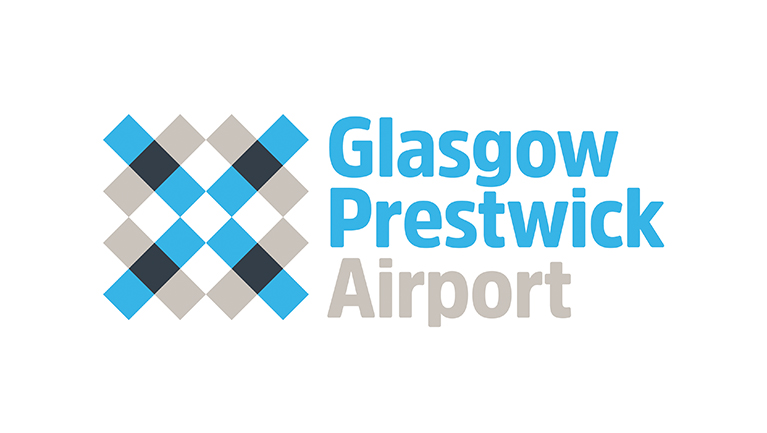 a logo of Glasgow Prestwick Airport with a blue and gray color schemes and white background