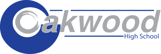 a logo Oakwood High School with blue and gray color schemes and a transparent background