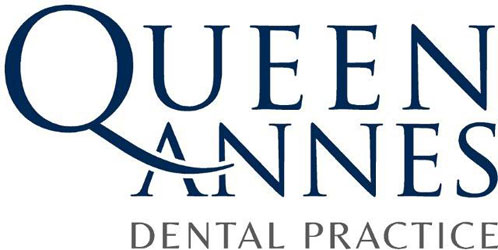 a logo of Queen Annes Dental Practice with blue and gray color schemes and white background