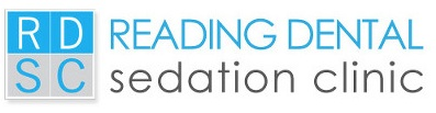 a logo of Reading Dental Sedation Clinic with blue, white and gray color schemes and blue background color